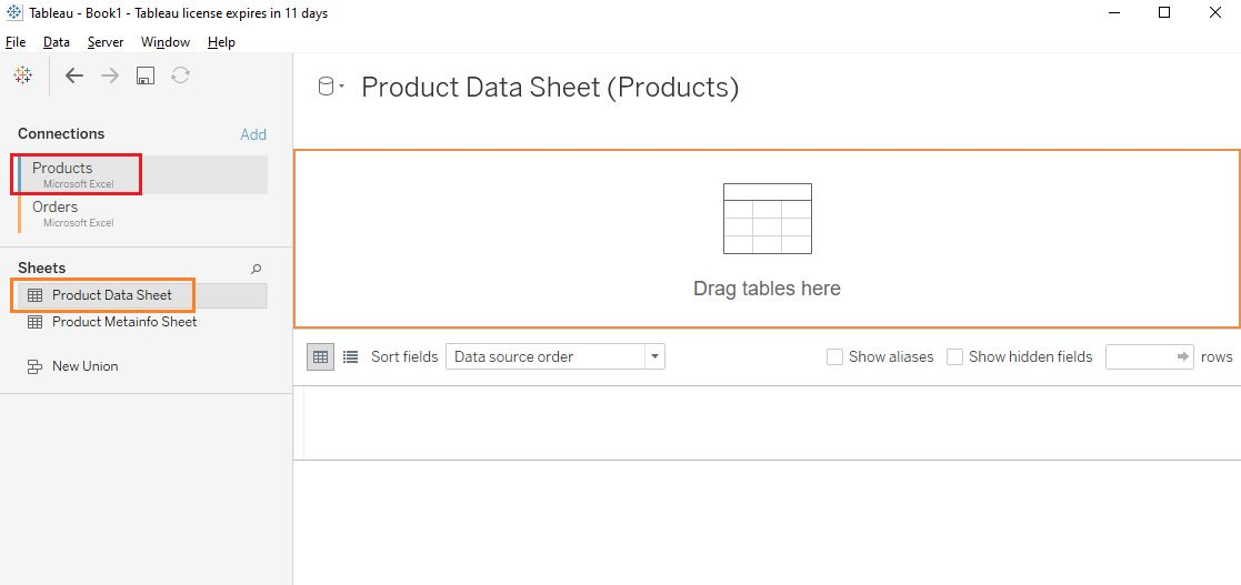 Join related data sources Step 1